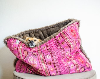 Pink kilim - faux fur snuggle sack | cuddle cave | travel bed | anti-anxiety dog bed | nest bed