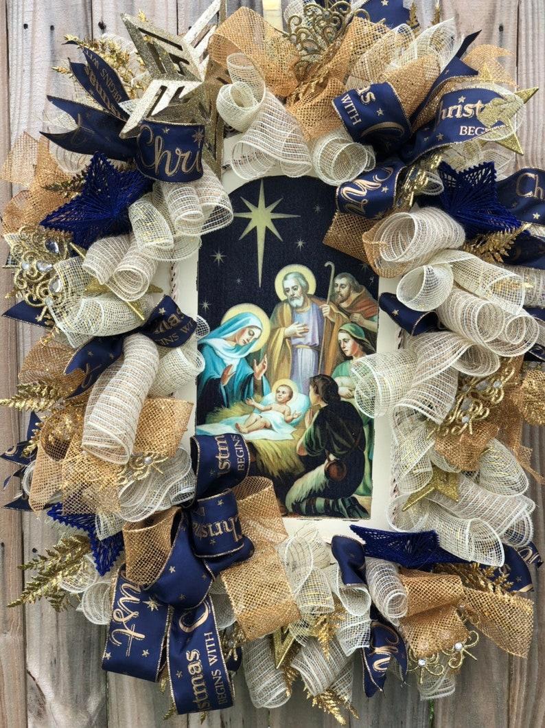 Christmas Wreath Jesus Wreath Jesus Christmas Decor Spritual Christmas Wreath Spritual Christmas Decor Christmas Gift