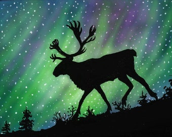 Sticker-Caribou and northern lights