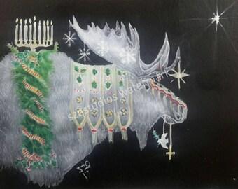 airbrushed Holiday Moose