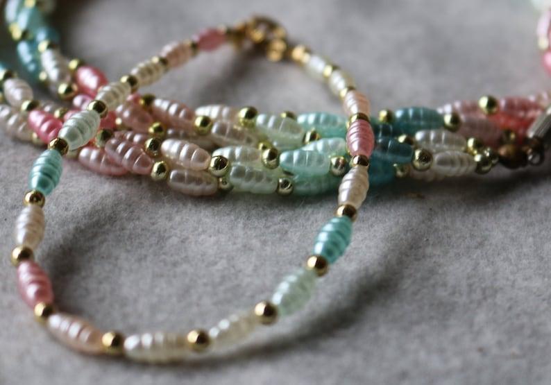 Twisted 3 STRAND  NECKLACE Single Strand Bracelet Ultra Feminine 1970s Pastel Bead Set