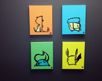 """Derpemon starter set.  Each is a hand painted 8"""" x 10"""" canvas."""