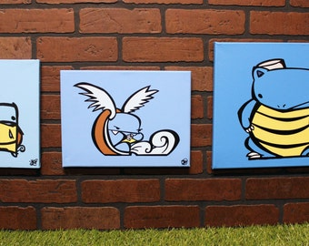 Derpemon water evolution set. Each is a hand painted canvas + FREE Bubble Rabies Print!!