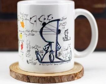 Sassymander sketch mug 11 oz ceramic