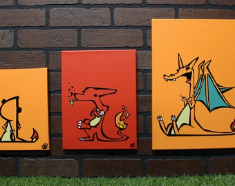 Derpemon Fire Evolution Set. Each is a hand painted canvas.