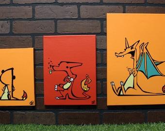 Derpemon Fire Evolution Set. Each is a hand painted canvas + FREE No Survivors Print!!