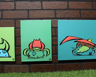 Derpemon grass evolution set. Each is a hand painted canvas + FREE The Puppeteer Print!!