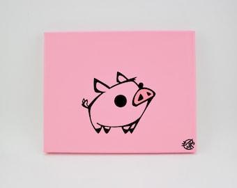 "Piggy Smalls. 8""x 10"" Hand painted canvas"