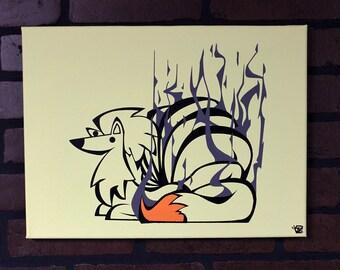 "Smoke Tails. Hand painted 12"" x 16"" canvas.  tssssssssssssss"