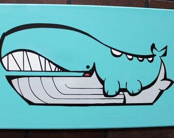 "Whermerlerd.  Hand painted 12"" x 24"" canvas."