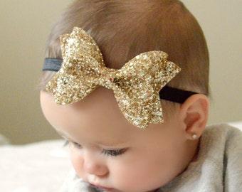 Gold Glitter Bow // headband or clip // customizable elastic color