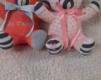 amigurumi child blue pajamas gift Bear crochet beige handmade Christmas Pooh plush child Xmas Doudou birthday