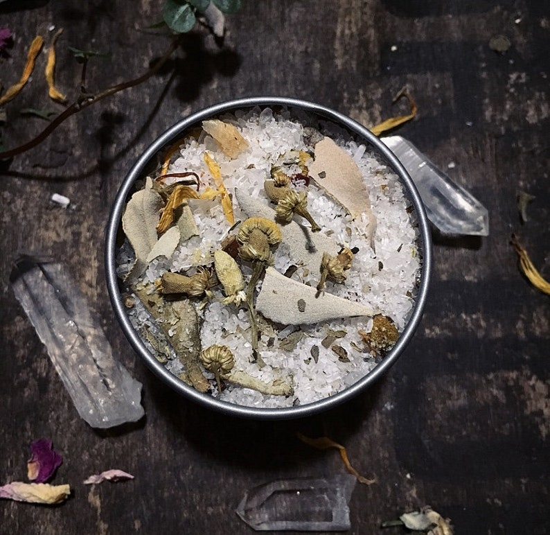 PROTECTION RITUAL BATH with sea salt, herbs, essential oils, and flowers