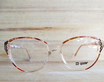 6f96a9564c 1980 vintage oversize clear marbled prescription glasses frames - deadstock  women eyeglasses by Game