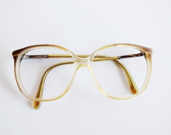 a05e55e5714 1980 vintage oversized clear and brown prescription eyeglasses frame for  women