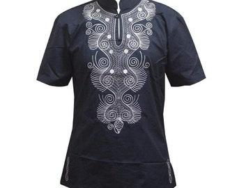 Men/'s Polish Cotton Embroidery Dashiki Shirt