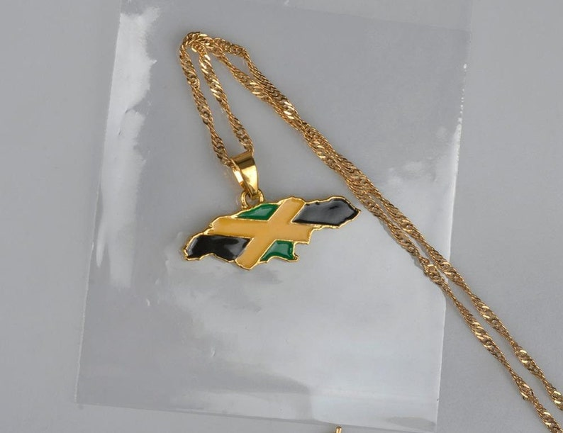 Jamaica map pendant necklaces gold color rlw1382