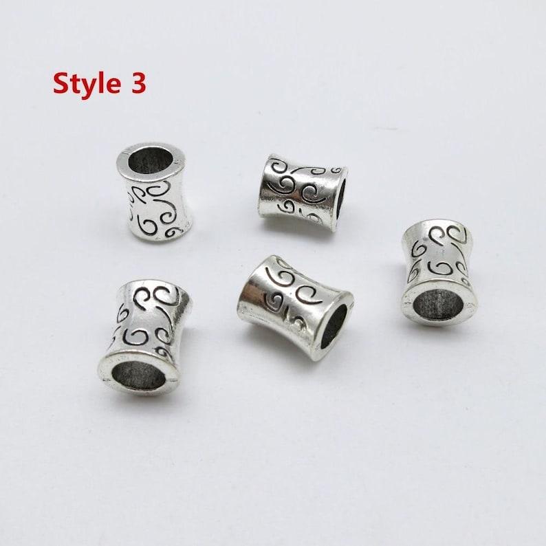 5pcspack Tibetan silver different 5 styles hair braid dreadlock beads RLW2274