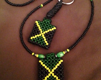 Jamaican beads Weaved NECKLACE AND KEYCHAIN RLW175