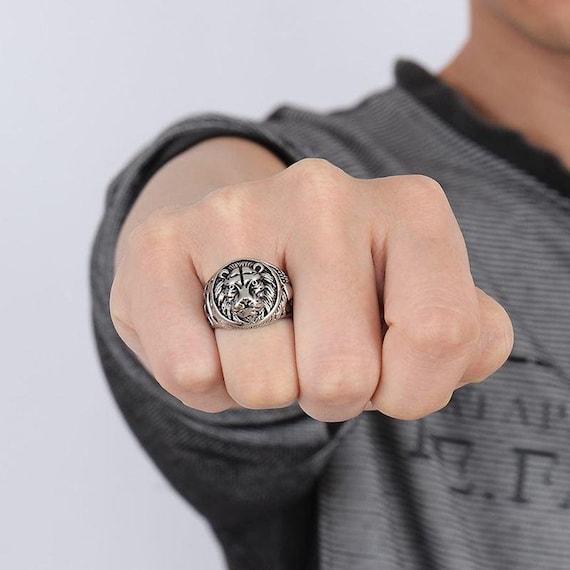 fashion lion head ring rlw1356