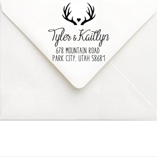 Antler Address Stamp - Custom Wedding Stamp - Rustic Wedding Invitation - Couples Stamp - Large Deer Antler Stamp - Calligraphy Heart Hunter