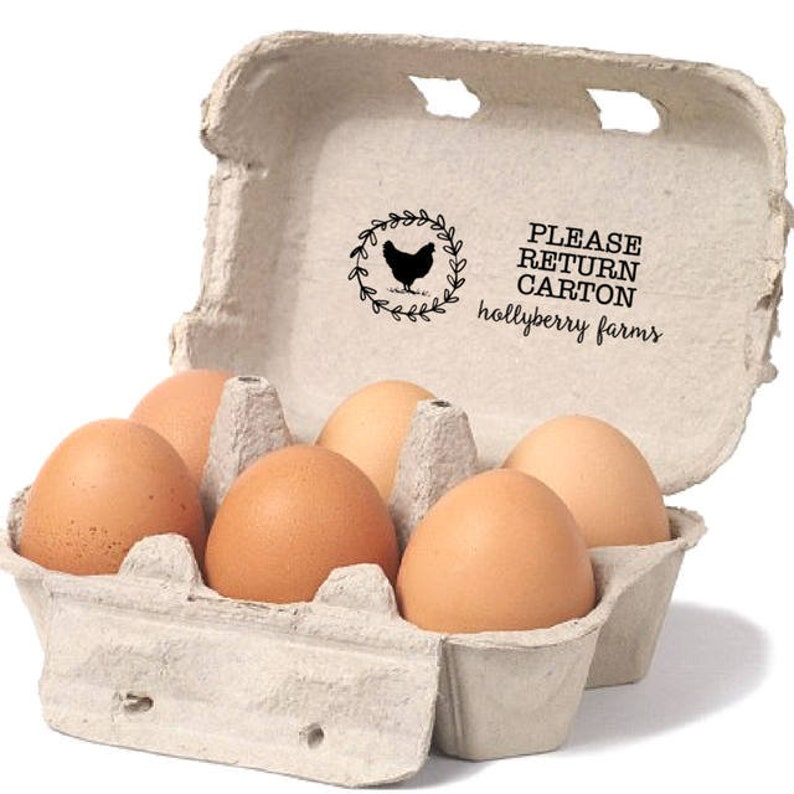 Please Return Cartons Vintage Hen in Wreath Design Reusable Egg Cartons Stamp Eco-Friendly Gift For Farm Backyard Chicken Coop Decor