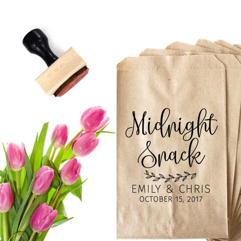 Personalized Wedding Stamp Midnight Snack Bag Cake