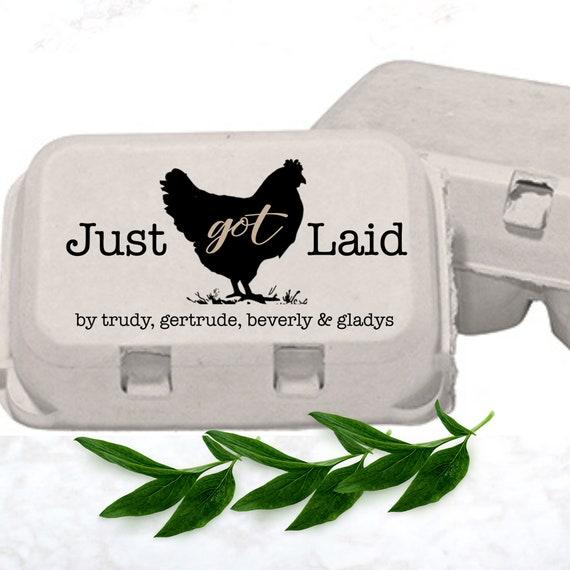 1//2 Inch Mini Just Laid Chicken Head Chicken Egg Rubber Stamp
