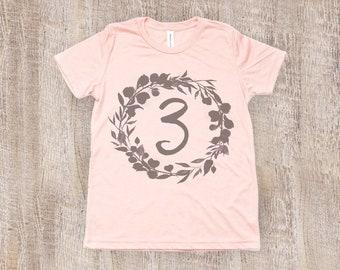 Three Year Old Birthday Shirt, Toddler T Shirt in Peach