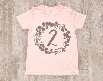 Two Year Old Birthday Shirt, Toddler T Shirt in Peach