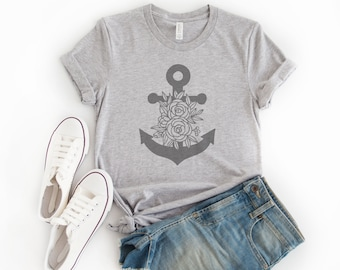 eb0ec4078 Anchor T Shirt, Unisex Style with Flowers