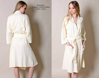 Women's Spa & Bathrobe, 100% Organic Cotton, Kimono Style, Relaxed Fit, Lightweight, Soft, All-Season, Eco-Friendly