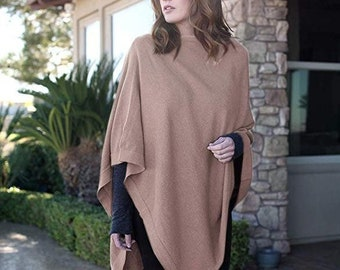 6e0df5791bb836 Women s 5-Way Knit PONCHO Sweater Pullover Cardigan Topper