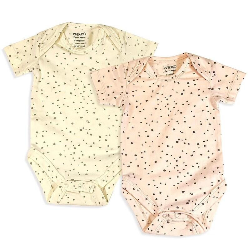 Eco Organic Cotton Jersey Baby Romper Bodysuit Super Soft Pebble Dot Print Short Sleeve Lightweight Cozy
