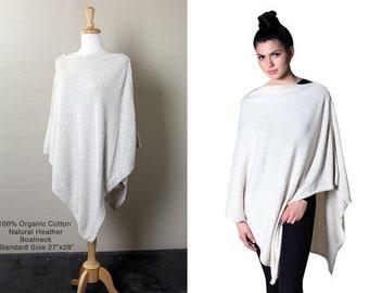 5-Way PONCHO Sweater Knit Pullover Topper Travel Wrap, 100% Organic Cotton, Soft, Lightweight, All-Season, Eco-friendly
