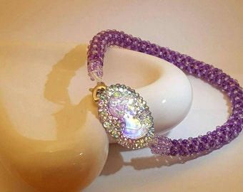 Lovely Chenille Stitch Bracelet in Purple and Lavender.