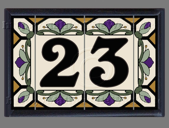 house numbers address numbers tiles ceramic framed set etsy rh etsy com Cottage Style House Letters Unique House Numbers Designs