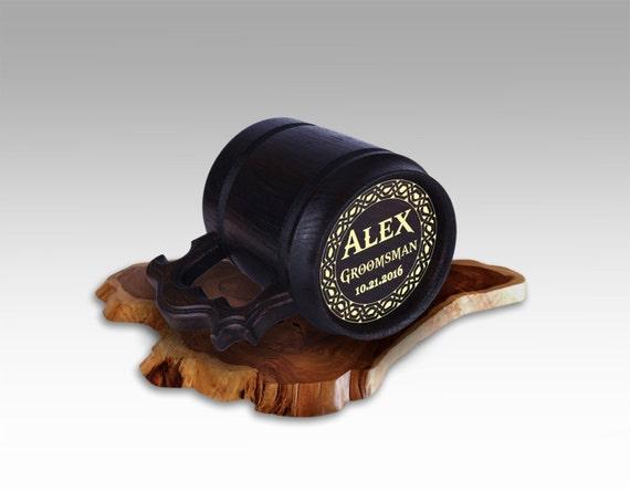 cadeau de gar ons d honneur de bi re en bois mug inox l. Black Bedroom Furniture Sets. Home Design Ideas