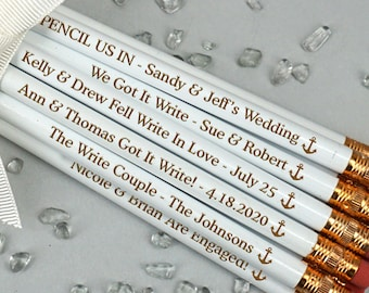 Anchor Personalized Pencils, White Pencils - Set of 12