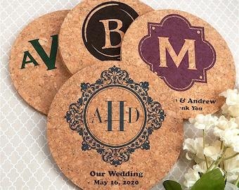 Wedding Favors Coasters, Monogram Cork Coasters, Wedding Favors Rustic, Personalized Cork Coasters, Holiday Hostess Gift - Set of 4