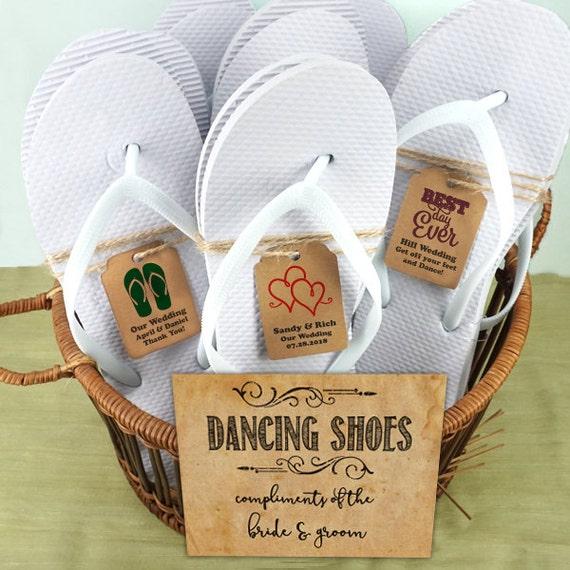 7ef008711 Wedding White Flip Flops Set with Personalized Kraft Tag - Set of 6