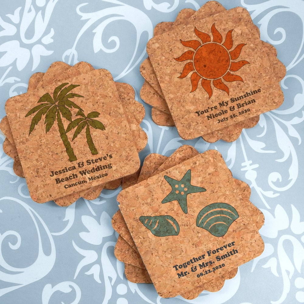 Beach Wedding Favors: Beach Wedding Favors Wedding Favors Coasters Custom Square