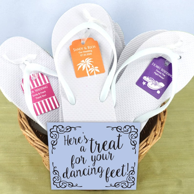 eed0cd952d21 Party White Flip Flops Set with Personalized Kraft Tag Set
