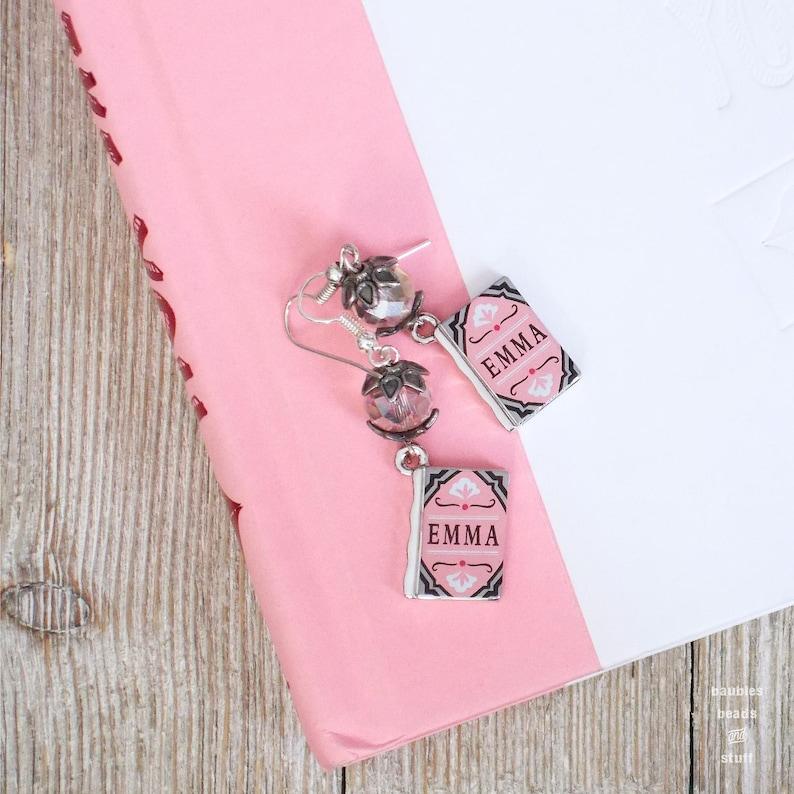 Jane Austen Earrings  Simple Earrings  Book Inspired Jewelry image 0