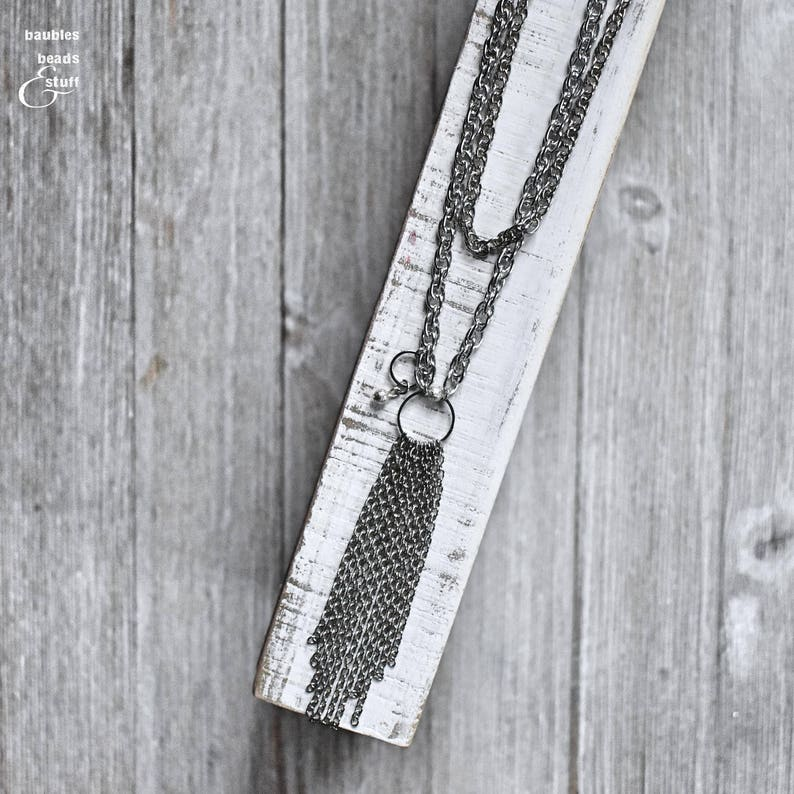 Silver Chain Tassel Necklace  Tassel Necklace  Minimalist image 0