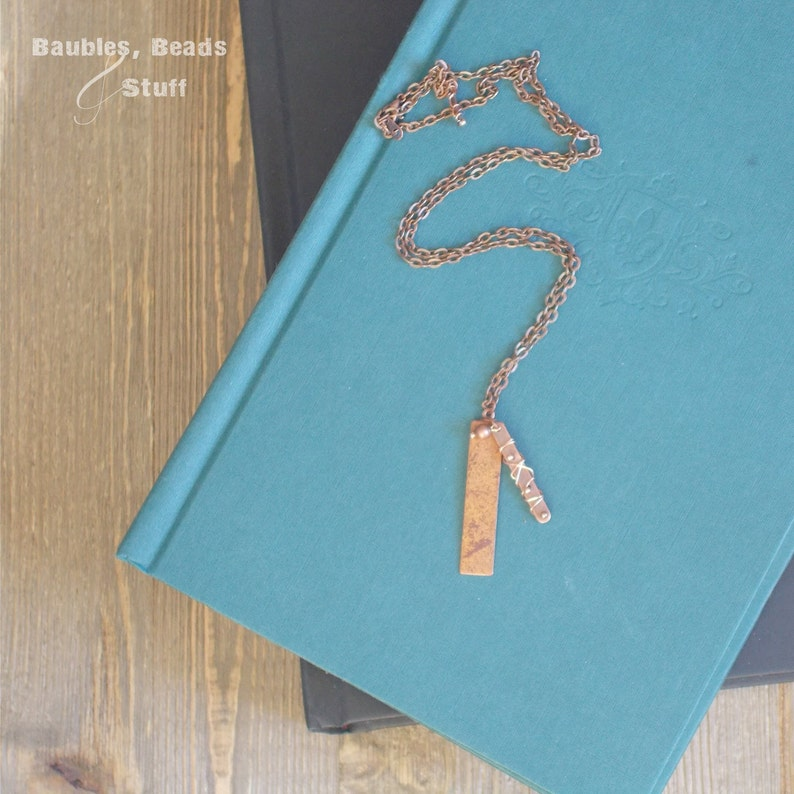 Copper Oblong Tag Necklace  Wire-Wrapped Design image 0