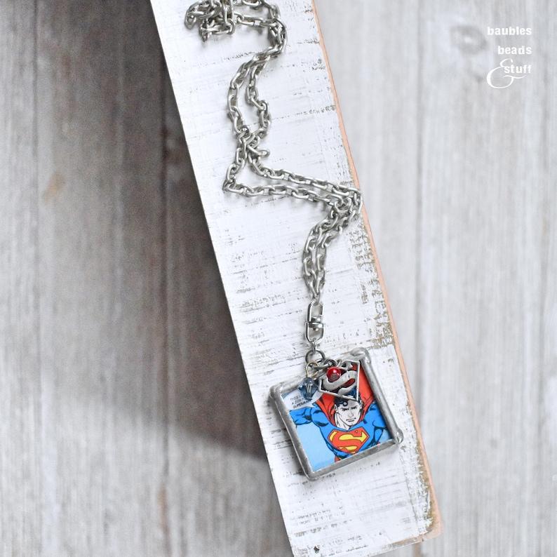 Silver Superman Pendant Necklace  Super Hero Jewelry  Single image 0