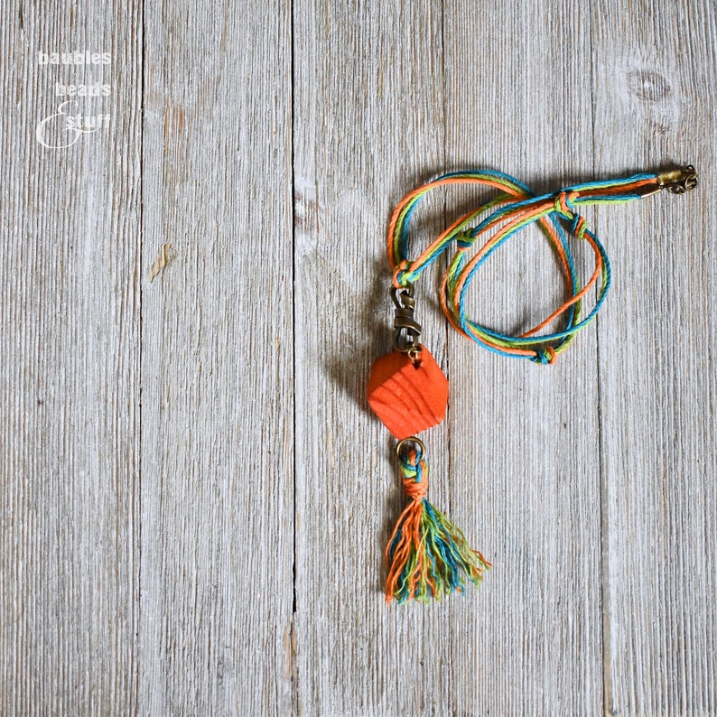 Orange Bead Twine Necklace  Bright Color Jewelry  Tassel image 0