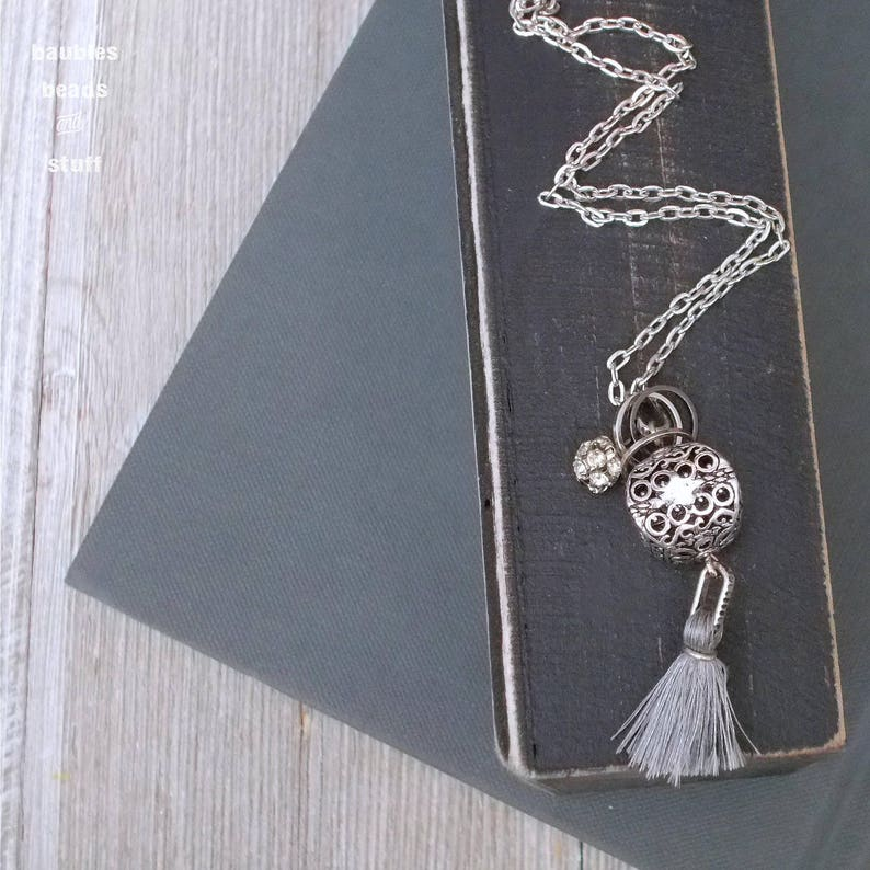 Silver Filigree Necklace  Tassel Necklace  Single-Chain image 0