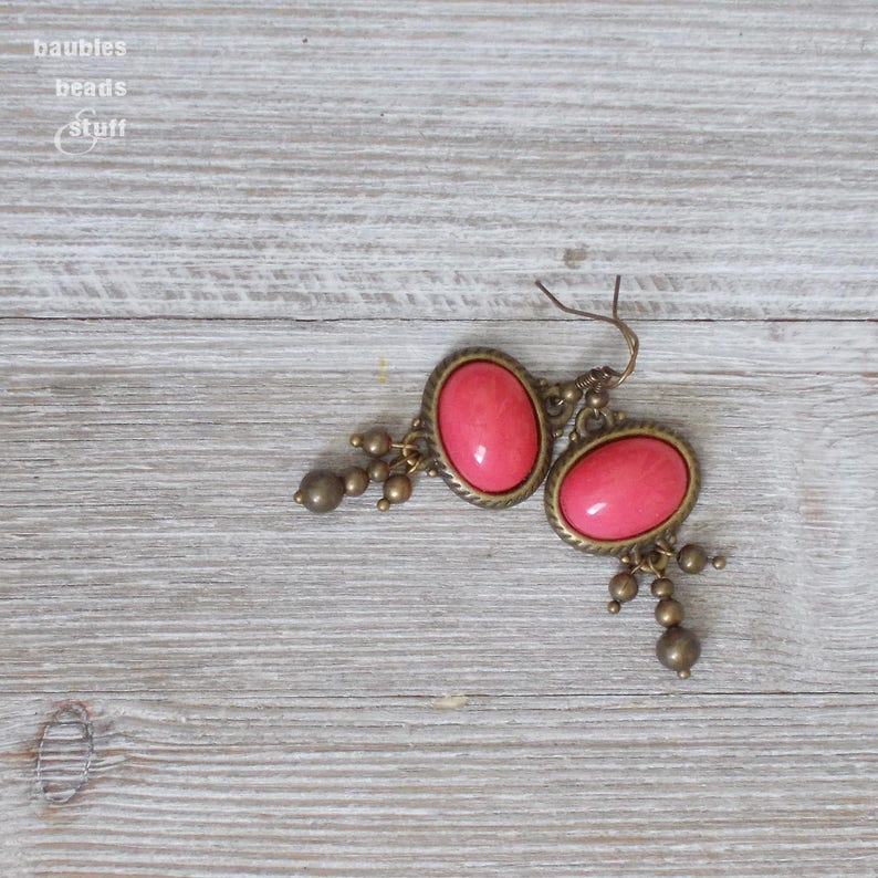 Pink Oval Bead Earrings  Gold Edged Earrings  Gold Bead image 0